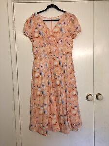 Ladies Dress Wayward Fancies eShakti Orange Seashell Midi Dress Size 14 / L