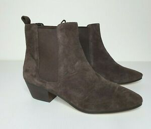 Nine West Brown Leather Ankle Block Heel Boots Size AU 10M New without Box