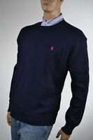 Ralph Lauren Navy Blue Crewneck Cotton Sweater/Red Pony-NWT