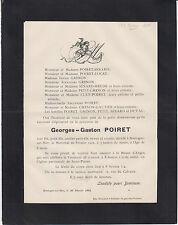1902 FAIRE-PART DÉCÈS Georges-Gaston POIRET - Boulogne-sur-Mer (Pas-de-Calais).