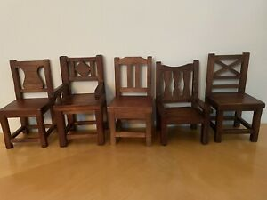 Set Of 5 Pottery Barn Wooden Mini Chairs Hanging Wall Decor