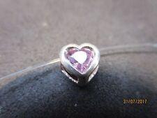 Collier ~schwebender Strass~ 36 cm 925 Silber Herz Anhänger rose Nylonkette