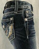 NWT Miss Me JP8494B Blk Leather Biker Stud Boot Cut Jeans $109.50 sz 25,26 SALE