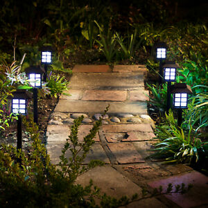 6x Solar Powered LED Oriental Lantern Stake Lights Patio Garden Chinese Lamps UK