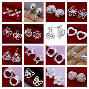 *UK* Silver Plated Simple Elegant Stud Earrings Butterfly Ladies Womens