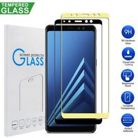 For Samsung Galaxy A7 2018 A8 A6 2018 Tempered Glass Screen Protector Full Cover