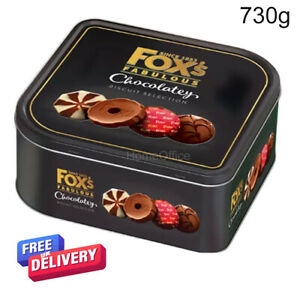 Large Tin Of Fox's Fabulous Chocolately Chocolate Biscuit Selection 730g Foxes
