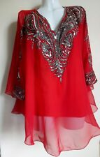 NEW TUNIC 18/20/22/24 SEQUINS SILVER IVORY BLOUSES T-SHIRT BLACK WEDDING TOPS
