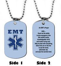 DOG TAG NECKLACE - EMT Emergency Medical Technician's Prayer Jesus God Responder