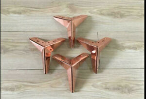 4 x Rose Gold Steel Furniture Leg / Feet for uk Sofa table Chair Cabinet stool