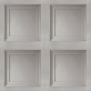 Grey Wooden Panel 3D Effect Realistic Square Panelling Smooth Flat Wallpaper