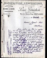 """MONTLUCON (03) USINE de MEUBLES / EBENISTERIE """"Louis GENICHON"""" en 1910"""