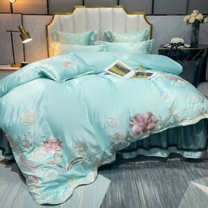 Luxury embroidered bedding set 4pcs quilt cover flat sheet/bed skirt pillowcases