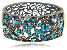 Antique Inspire Brass Vine Floral Blue Zircon Rhinestone Cuff Bangle Bracelet