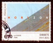 TIMBRE 1996 DIBBETS HORIZON SÉRIE ARTISTIQUE OBLITÉRÉ CACHET ROND D'ANGLE