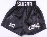Sugar Ray Leonard Signed Black Boxing Trunks Shorts - Beckett Witnessed COA