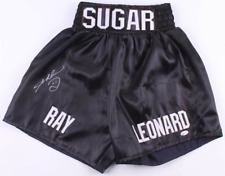 Sugar Ray Leonard Signed Black Boxing Trunks Shorts - Beckett Witnessed COA