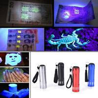 Mini UV Ultra Violet 9 LED Flashlight Blacklight Light Inspection Lamp Torch BH