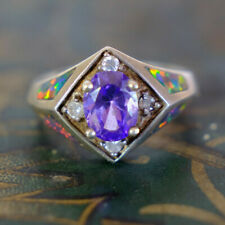 Estate Vintage Ring Silver Amethyst Simulated Diamond Blue Australian Fire Opal