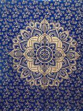 Blue Gold Wall Hanging Cotton Flower Ombre Mandala Tapestry Poster Handmade Art