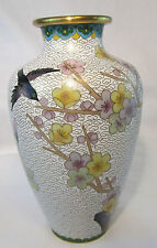 VINTAGE CLOISONNE VASE WITH BIRD AND BUTTERFLY