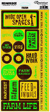 Reminisce FARM PHRASES Sticker Sheet scrapbooking BARN TRUCK HARVEST