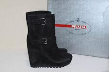 New sz 5 / 35 Prada Double Buckle Black Suede Wedge Heel Boot Womens Shoes