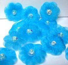 """1"""" Organza Sequin Beaded Flower Appliques x 60 Aqua"""