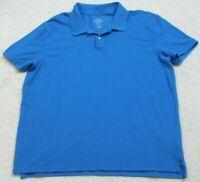 XL St. John's Bay Blue Short Sleeve Polo Shirt Mans Top 2 Button Solid X-Large