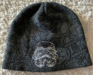 Star Wars Boys Gray White Embroidered Darth Vader Winter Knit Beanie One Size