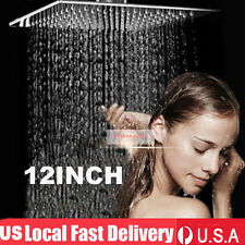 12'' Square Stainless Steel Rain Shower Head Rainfall Bathroom Top Sprayer USA