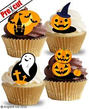 PRE-CUT HALLOWEEN PUMPKINS GHOST EDIBLE WAFER PAPER CUP CAKE TOPPERS DECORATIONS