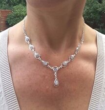 MOONSTONE NECKLACE SILVER DAINTY HANDMADE DESIGN JUNE BIRTHSTONE JEWELRY gift