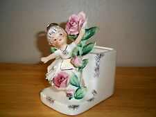 Vintage Lefton Angel Figurine Planter, Gold Trim, Pink Flowers, Repaired
