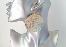 Gorgeous large gold tone patterned round disc drop hoop earrings,  6cm - 2.4""