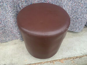 Round stool seat on wood legs brown faux leather covered S2E140921E