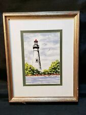 Vintage Framed Matted Water Color Lighthouse Painting Signed Hal Sweitzer Ohio