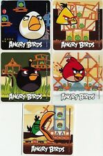 5 x Square Stickers ~ Angry Birds White Yellow Green Red Bird Black Favours ~