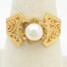 Handmade Vintage 14K Gold Filled Ring Size 8.25 with 6mm White Freshwater Pearl