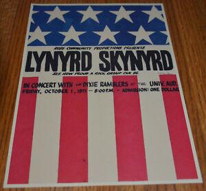 Lynyrd Skynyrd Handbill 1971 $1 Admission Signed by Artist - Clean!
