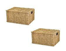 east2eden Lidded Seagrass Storage Hamper Basket in Choice of Sizes Large
