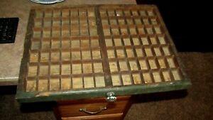 Vintage Wood Letterpress Type Case Print Tray Printers Drawer Curios Display