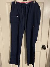 Koi Lite Slim Fit Women's L Navy Blue Cargo Scrub Pants Drawstring Waist #721