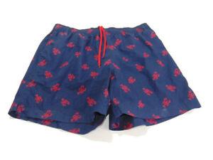 Polo Sport Ralph Lauren Trunks Blue Red Lined Lobster Pockets Swim Shorts Men L