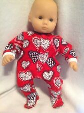"""15"""" Bitty Baby Red Valentines Hearts sleeper pajamas pjs twins girl Doll Clothes"""