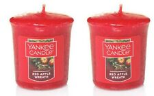 2 x votive yankee candles red apple wreath christmas winter 15 hours burn time