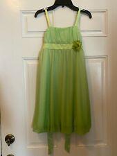 Amy Byer Green Sparkly Sleeveless Dress Fully Lined Flower detail Girls 14