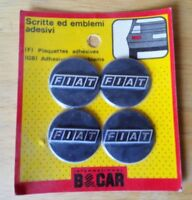 NOS Fiat Logo Wheel Hub Center Caps Emblem Badge Self Adhesive Sticker Set of 4