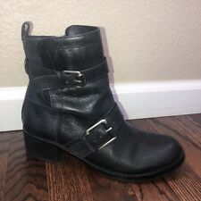 Lucky Brand Hanae Women's Black Leather Buckle Wrap Biker Moto Boots Size 7.5