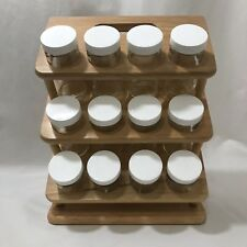 Wooden Spice Rack 3 Tier 12 Glass Jars Lids Shaker Tops